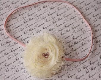 Ivory Primrose Baby Flower Headband, Newborn Headband, Baby girl flower headband, Photography Prop
