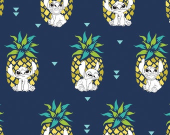 New Disney Fabric: Camelot Disney Lilo & Stitch - Stitch and Pineapples in Navy Blue 100% cotton Fabric (CA45)