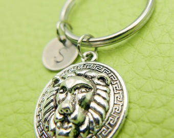 Lion/Leo stainless steel Keyring initial keychain