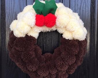 Pompom Wreath ,Christmas, Wreath, Door Wreath, Christmas Pudding, Christmas, Decoration, Handmade, Pom Poms, Wall Wreath