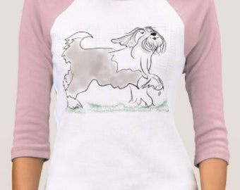 Bearded Collie Tee Shirt XL blue only, see image