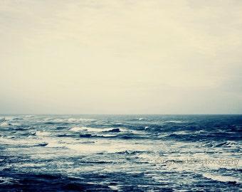 Ocean print, sea photography, dark blue ocean photography, seascape, ocean horizon, coastal fine art print, home decor, minimal wall decor