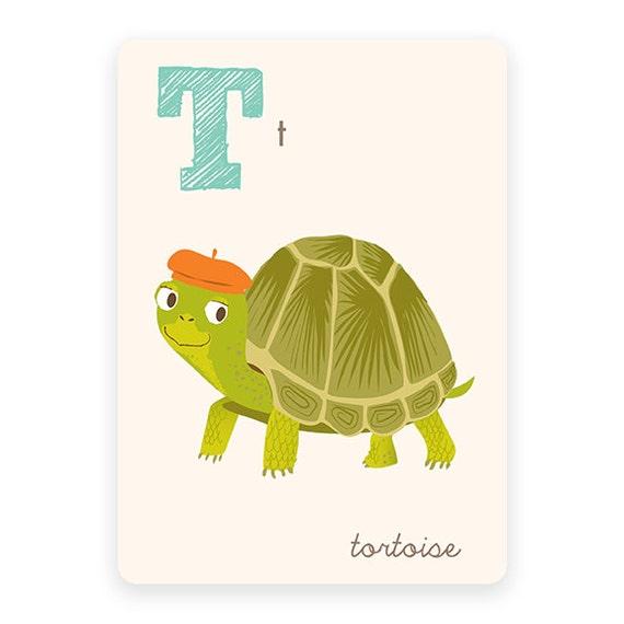 ABC card T is for Tortoise ABC wall art alphabet flash