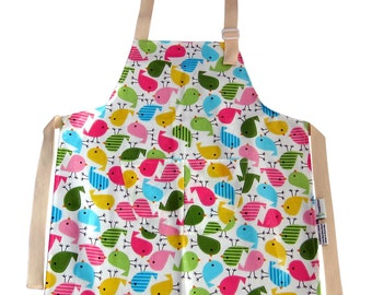 Kids Birdy Apron Pinny Waterproof Washable Laminated Cotton