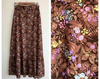 Vintage 1970's Floral Summer Maxi Skirt Size 8-10