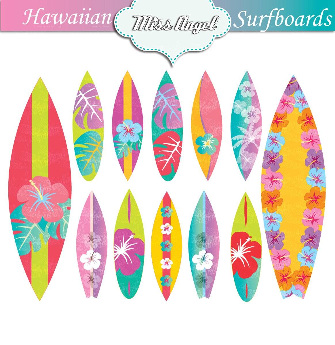 Hawaii Surfbretter clip Art-Set 12 digitale Surfbretter.