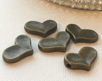 Sweet Bronze Heart (set of 5) Large Beads