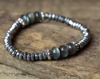 Stackable Bracelet, Stretch Bracelet, Boho Bracelet, Beaded Bracelet, Labradorite Bracelet, Silver Bracelet, Bridal Jewelry, Bracelet Sets