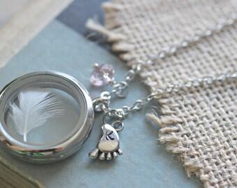 New Mom Jewelry, Mom Necklace, Floating Locket Baby Keepsake,  Baby Boy Gift, Baby Girl Gift, Infant loss jewelry, Lock of Hair Keepsake