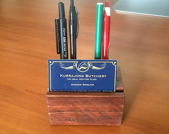 Desk Organiser / Business Card Holder / Pen Holder / Recycled Wood