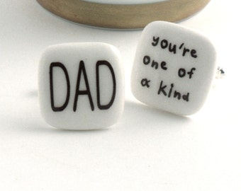 Dad Cuff links Porcelain One of a Kind Father Day Gift Present Christmas Handmade White Brown