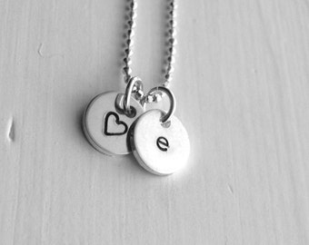 Initial Necklace, Letter e Necklace, Tiny Heart Necklace, Personalized Jewelry, Sterling Silver Jewelry, All Letters, Letter e Necklace, e