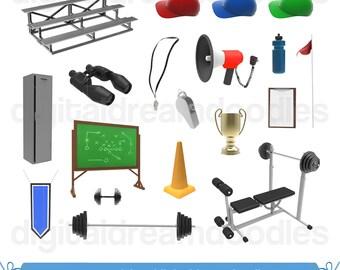 Sport Coach Clipart, Coach Clip Art, Team Coach Image, Sports Trainer Graphic, Athlete Training Scrapbook, Locker Room Art, Digital Download