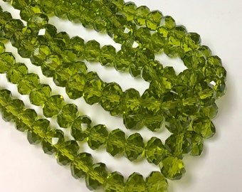 Green/Olive Chinese Crystal Beads, 8X5mm, 8 inch Strand, Crystal, Beads for Jewelry Making, Rondelle Crystals