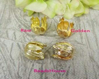 20%off  FF-600-TS   2pcs (13x16mm) Tulip Brass Bead Cap Flower,Nickel Free