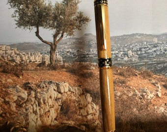 Olivewood Midnight 24kt Gold Sculpted Pen