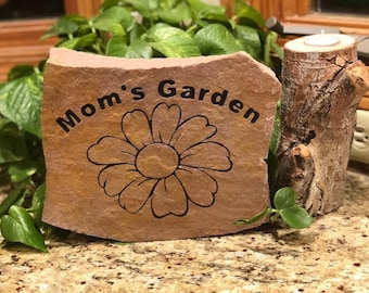 Mom's Garden Engraved Stone-Discounted for mothers day