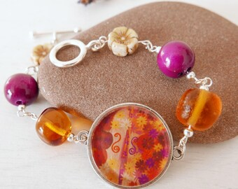 Violin Bracelet, Floral Bracelet, Autumn Bracelet, Music Bracelet, Art Bracelet,Orange Bracelet, Floral Jewellery, Quirky Bracelet