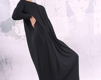 Black loose maxi dress, plus size dress, oversize dress, long dress,  - UM-CL003-VL