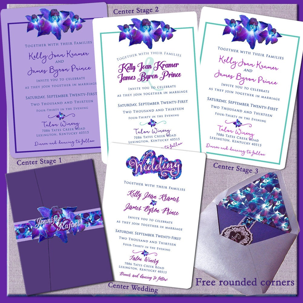 Invitations Orchids Purple Wedding Floral Wedding