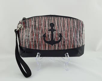 Made to Order Red Sailcloth Wristlet with Anchor, Carbon Fiber Sail Cloth Bag
