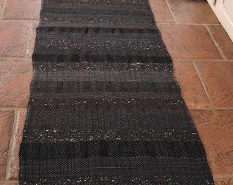 "Hand Woven Rug Black Striped Wool Alpaca Runner 24"" x 94"""