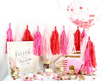 Roses Are Red 9+ Person Party Box, Pink White Red Gold Glitter Party Package, First Birthday Decor, Pink Gold Glitter Party In a Box