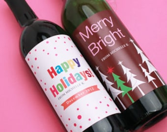 16 pcs Personalized Holiday Wine Labels (MIC- FJMCH410751)