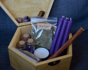 Spirituality & Psychic Awareness Witch Box - Gemstones - Herbs - Candles - Witchcraft Supplies - Wicca - Pagan - Spell Box - Witchy Gifts