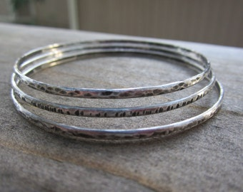 Sterling Silver Bangle Bracelets|3 Hammered and Oxidized Bangles|Recycled Sterling Silver