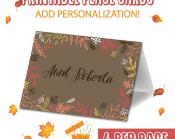 Personalized paper place cards. Thanksgiving placecards. Harvest placecards. Thanksgiving place setting. Thanksgiving table decorations.