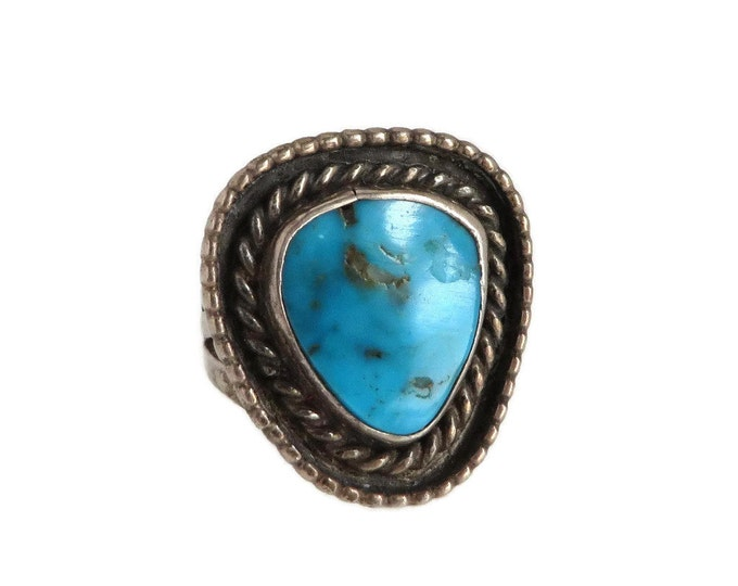 Turquoise Triangle Ring, Vintage Sterling Silver Ring, Navajo Jewelry, Braided Ring, Statement Ring Gift Idea for Her
