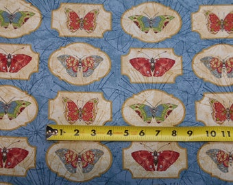 Serendipty Butterflys Summer  in Pics Frames on Blue BY YARDS Northcott Fabric