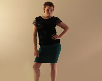 Jersey Pencil Skirt - Teal