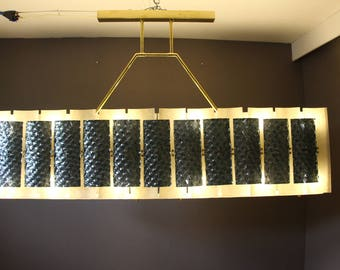 Mid Century Rectangular Champagne- Beige And Green-Grey-Blue Chandelier