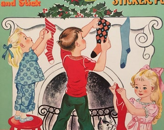 Whitman The Night Before Christmas Sticker Fun 1962 Unused New Old Stock Pink Aqua Hilda Miloche