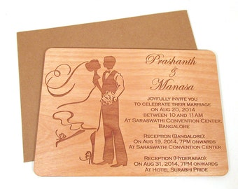 Bride & Groom Wooden Wedding Invitation - Real Wood