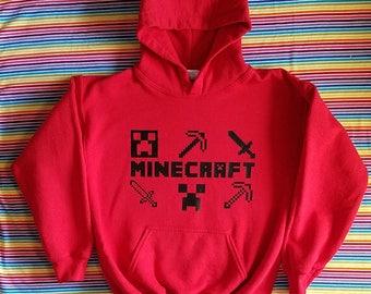 Kids Minecraft Hoodie. Minecraft Inspired. Creeper. Minecraft Tools. Gamer.