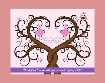 Owl Nursery Decor, Customized Baby Shower Gift, Thumbprint Guest Book Alternative, Nursery Wall Print, Baby Girl Gift, Baby Boy Gift