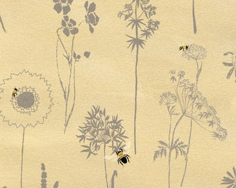 Butter Cream Bee Floral Fabric-Save Our Bees-Studio E-Bee Fabric-Bee Quilt Fabric-Floral Quilt Fabric-Bee Quilting Fabric-Gardening Fabric
