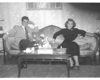 "Vintage Snapshot ""Not Speaking"" Couple Sitting On Opposite Ends Of The Couch Grumpy Man Woman Found Vernacular Photo"