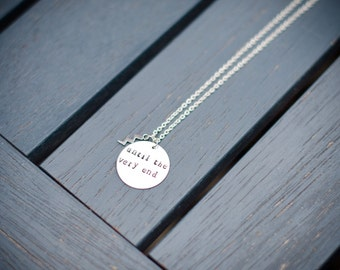 Until the very end Harry Potter inspired hand stamped necklace
