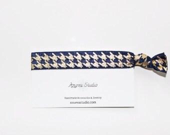 Houndstooth Navy Blue Gold Hair Tie