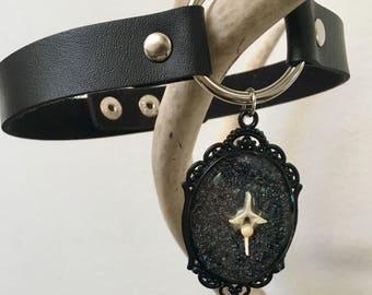 Snake Spine Bone O-Ring Choker, Fake Leather Vegan Collar, Creepy Cute Necklace Real Animal Bones Taxidermy Jewelry:CHOKE OF LOVE by {118}