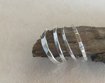 Hammered Stackable Silver Rings
