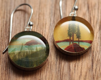 California coast earrings made from recycled Starbucks gift cards. sterling silver and resin.