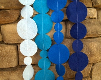 Ombre Blue Felt Garland with Bakers Twine