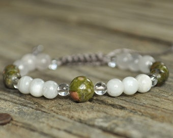 Pregnancy Bracelet, Unakite, Moonstone, Rose Quartz, Childbirth Bracelet, Yoga Bracelet, Meditation Bracelet, Fertility Bracelet, Midwife