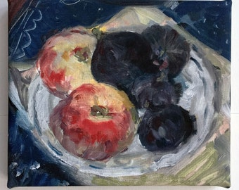 Peaches and Figs. Fruit painting. Still life painting. Small canvas print on stretchers, mini canvas, wall art ready to hang 18x15cm