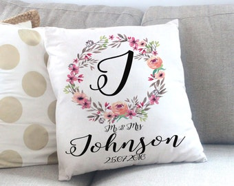 Personalized Wedding Gift - Mr and Mrs - Anniversary Gift - Wedding Gift - Throw Pillow - Bridal Shower Gift - Rustic Wedding Gift - Pillows